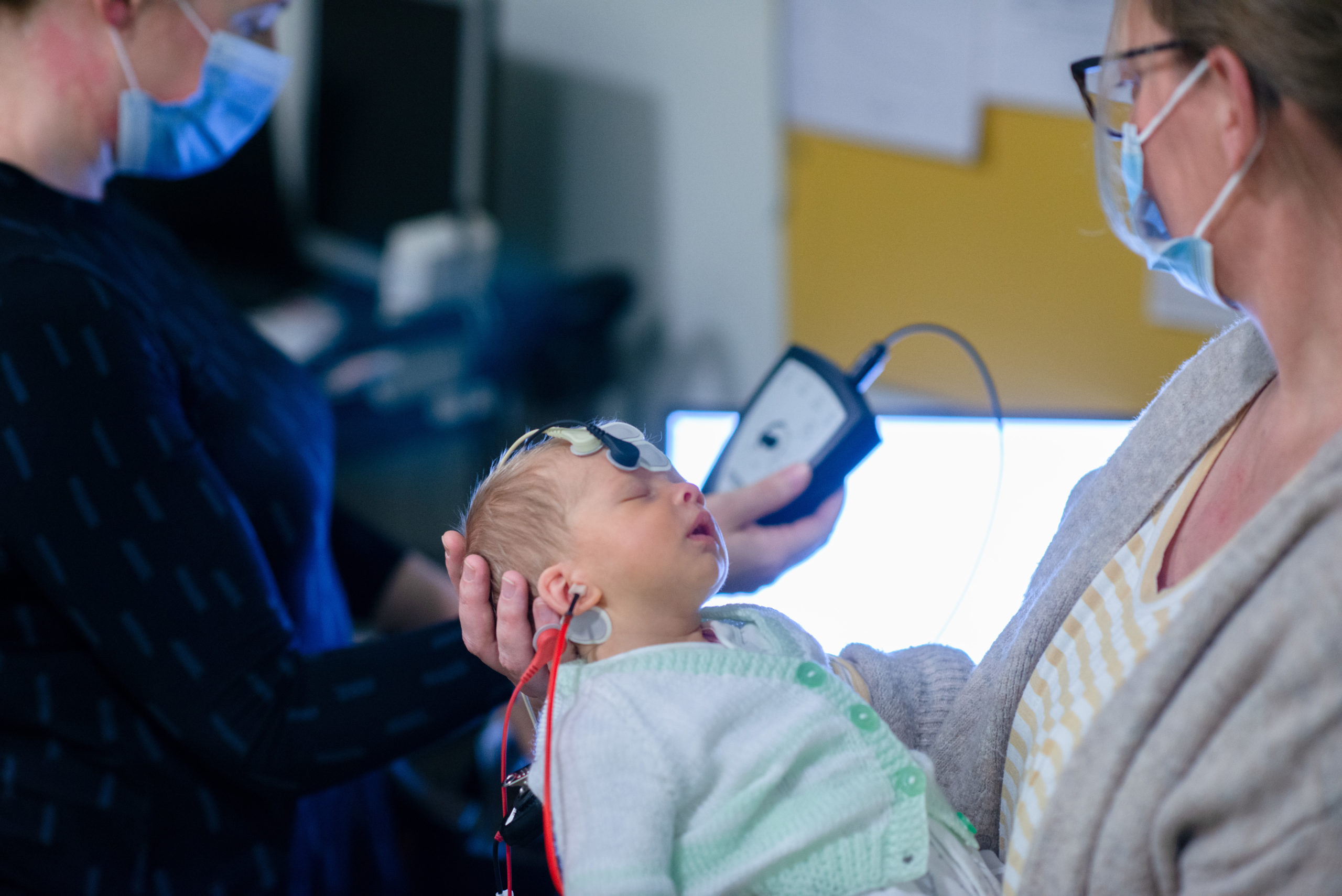 Six-week-old Alba Rowe having her hearing testing with the new Auditory Brainstem Response Equipment